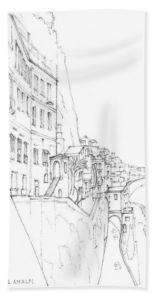 Amalfi Hand Towel featuring the drawing Vertical Amalfi Pencil And Ink Sketch by Dai Wynn