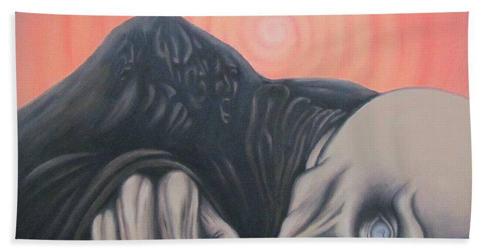Tmad Bath Towel featuring the painting Vertigo by Michael TMAD Finney