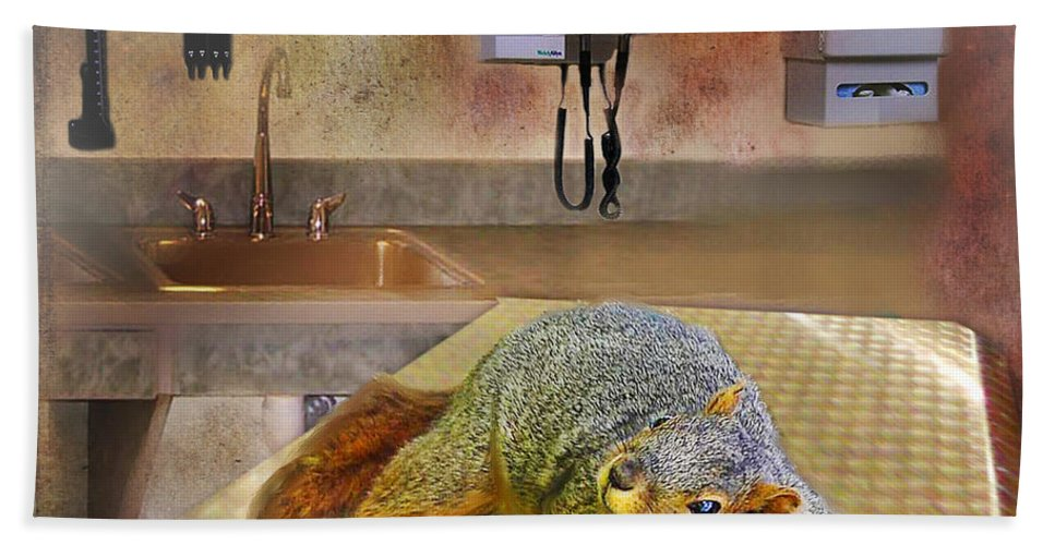 Squirrel Bath Sheet featuring the digital art Vet Office by Lisa Redfern
