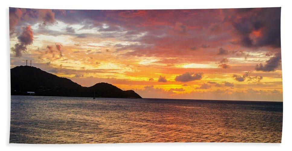 Calm Bath Sheet featuring the photograph Vibrant Tropical Sunset by Jess Kraft