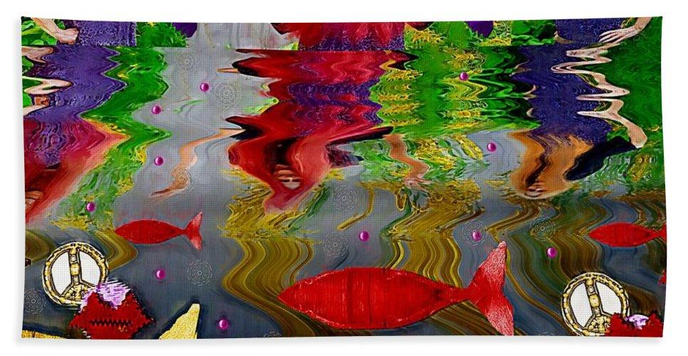 Woman Bath Sheet featuring the mixed media Vice Versa Pop Art by Pepita Selles