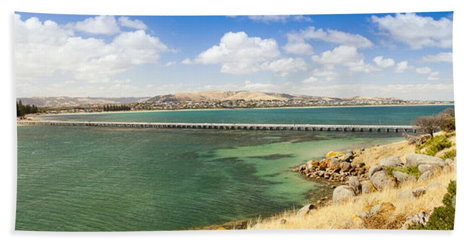 South Australia Bath Sheet featuring the photograph Victor Harbour Panorama by Tim Hester