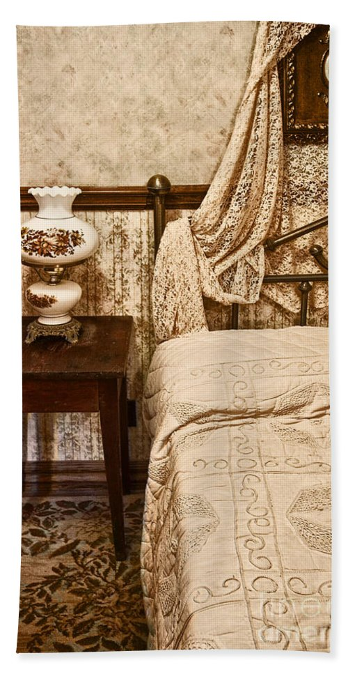 Bed; Victorian; Night Stand; Bedroom; Interior; Inside; Still Life; Rug; Lantern; Lace; Bedspread; Canopy; Picture; Decorate; Ornate; Vintage; Antique Bath Sheet featuring the photograph Victorian Bedroom by Margie Hurwich