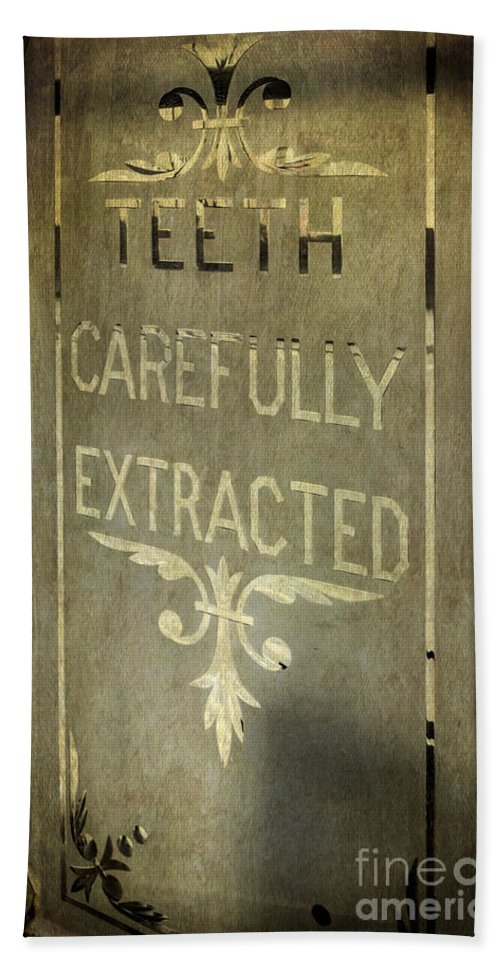 British Hand Towel featuring the photograph Victorian Dentist Sign by Adrian Evans