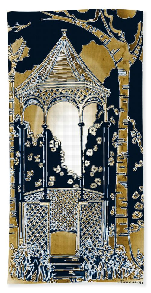 Victorian Hand Towel featuring the drawing Victorian Gazebo 79 II by Ellen Cannon