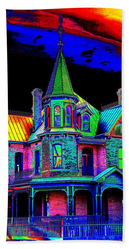 House Bath Sheet featuring the photograph Victorian House Pop Art by Phyllis Denton