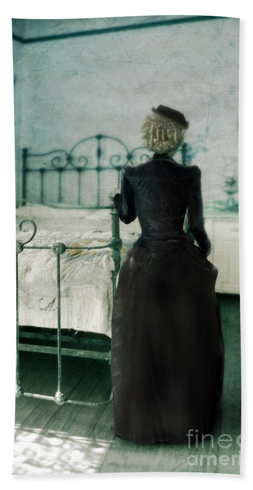 Woman Bath Sheet featuring the photograph Victorian Lady In A Bedroom by Jill Battaglia