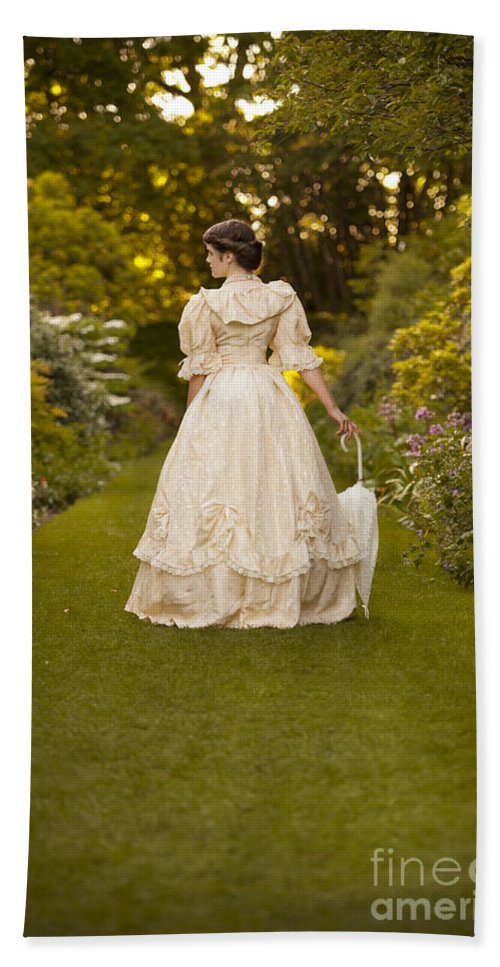 Woman Hand Towel featuring the photograph Victorian Woman In A Formal Garden by Lee Avison