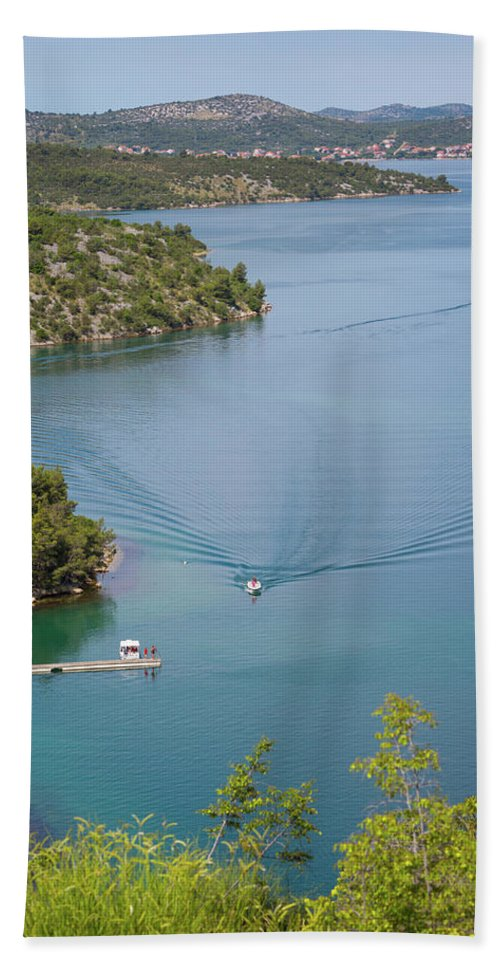 Photography Bath Sheet featuring the photograph View Down From Sibenik Or Krka Bridge by Panoramic Images