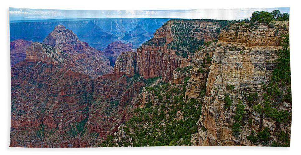 View Five From Walhalla Overlook On On North Rim/grand Canyon National Park Hand Towel featuring the photograph View Five From Walhalla Overlook On North Rim Of Grand Canyon-arizona by Ruth Hager
