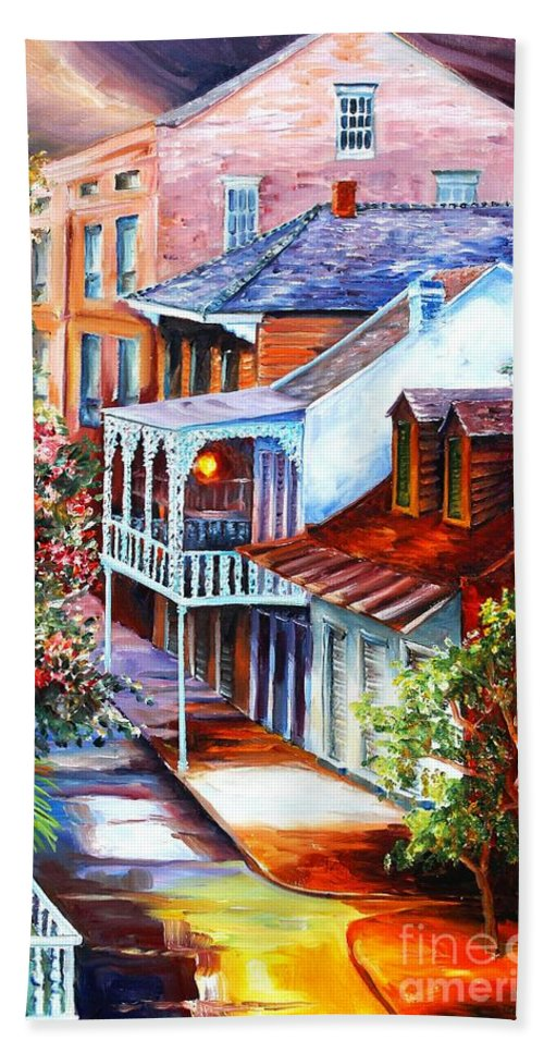 New Orleans Hand Towel featuring the painting View From A Bourbon Street Balcony by Diane Millsap