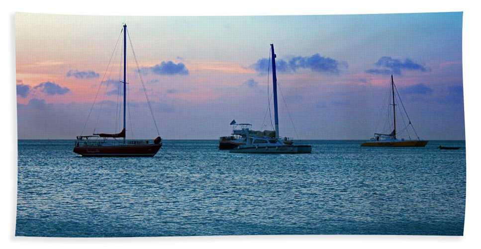 Aruba Hand Towel featuring the photograph View From A Catamaran3 - Aruba by Carolyn Stagger Cokley