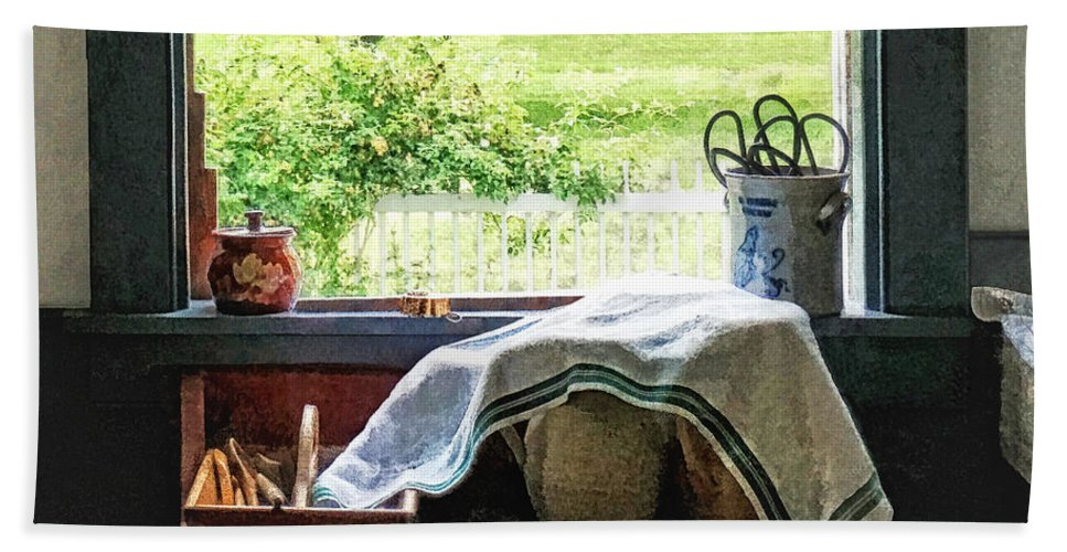 Kitchen Bath Sheet featuring the photograph View From Kitchen Window by Susan Savad