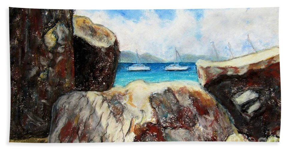 Virgin Gorda Bath Towel featuring the painting View Of Devil's Bay by Laurie Morgan