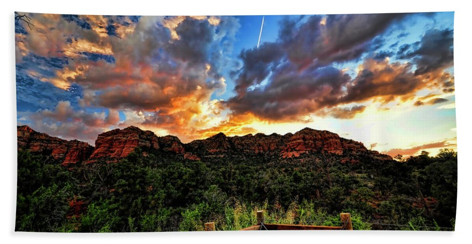 Arizona Bath Sheet featuring the photograph View From The Fence by Saija Lehtonen