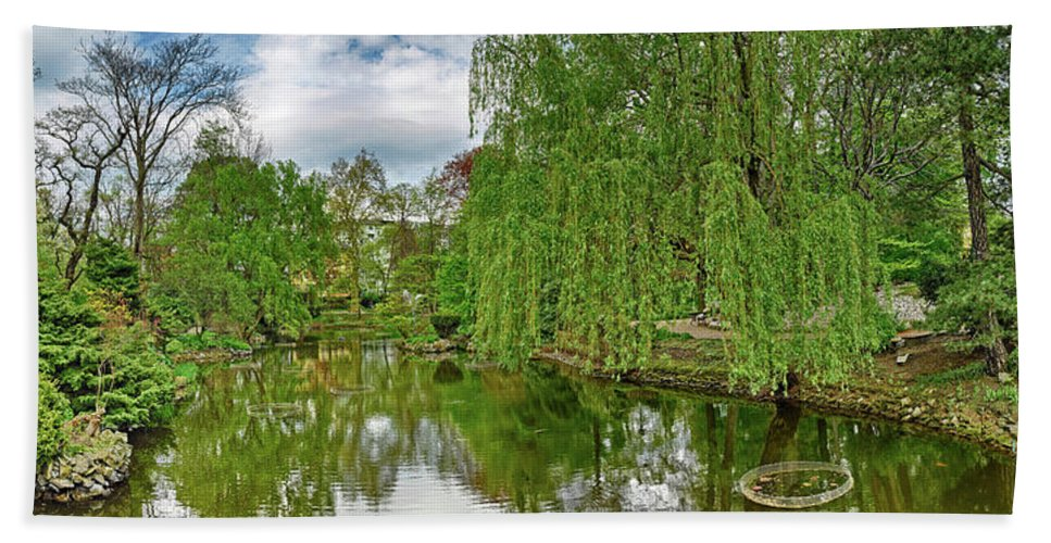 Photography Bath Sheet featuring the photograph View Of A Botanical Garden, Krakow by Panoramic Images