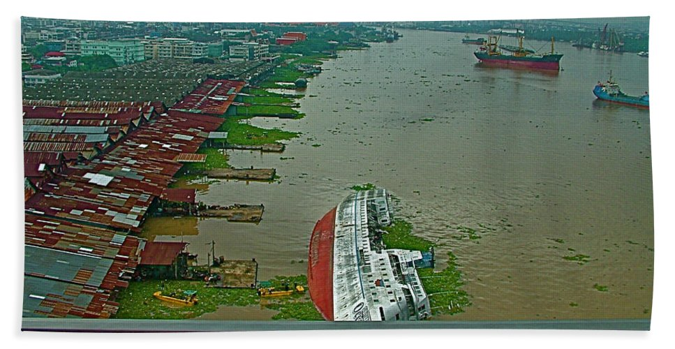View Of A Ship On Its Side From A Bridge Near Bangkok Hand Towel featuring the photograph View Of A Ship On Its Side From A Bridge Near Bangkok-thailand by Ruth Hager