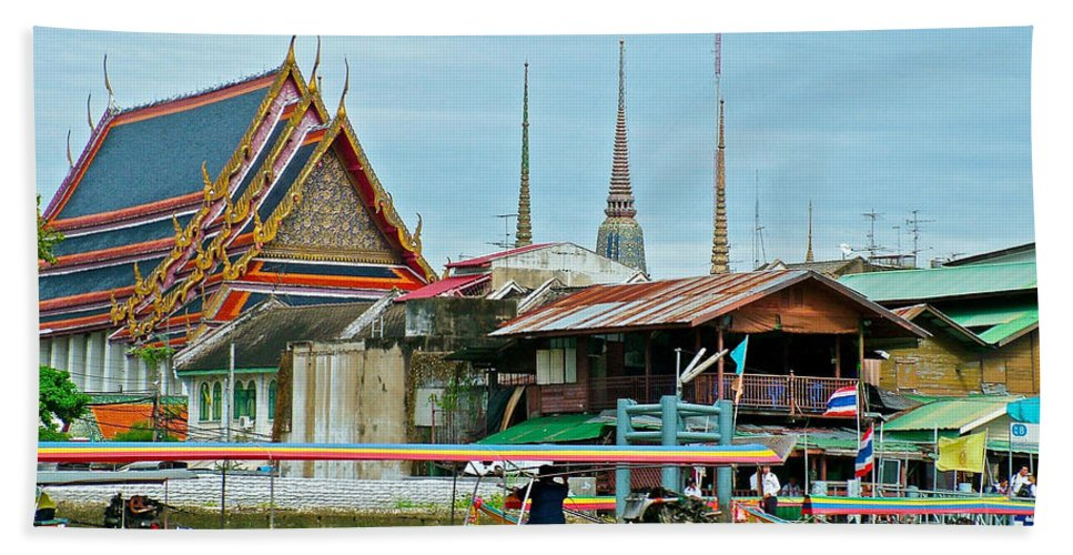 View Of Temple From Waterway In Bangkok Hand Towel featuring the photograph View Of A Temple From Waterway Of Bangkok-thailand by Ruth Hager