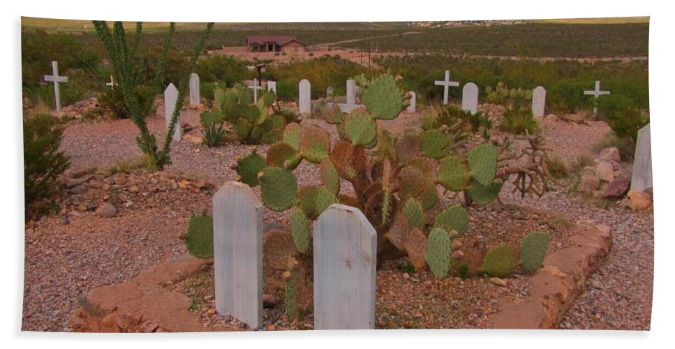 View Of Arizona From Boothill Cemetery Bath Sheet featuring the photograph View Of Arizona From Boothill Cemetery by John Malone
