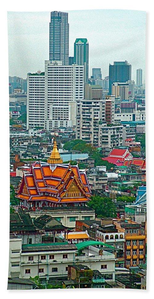 View Of Bangkok Buildings From Grand China Princess Hotel In Bangkok Hand Towel featuring the photograph View Of Bangkok Buildings From Grand China Princess Hotel In Bangkok-thail by Ruth Hager