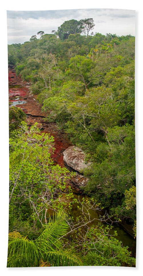 Cano Bath Sheet featuring the photograph View Of Cano Cristales In Colombia by Jess Kraft