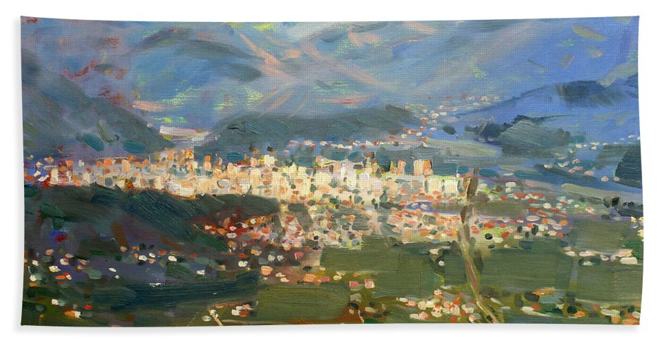 Elbasan Bath Sheet featuring the painting View Of Elbasan City by Ylli Haruni