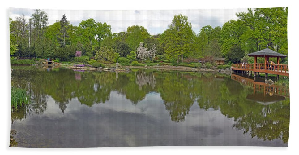 Photography Hand Towel featuring the photograph View Of Japanese Garden, Wroclaw, Poland by Panoramic Images