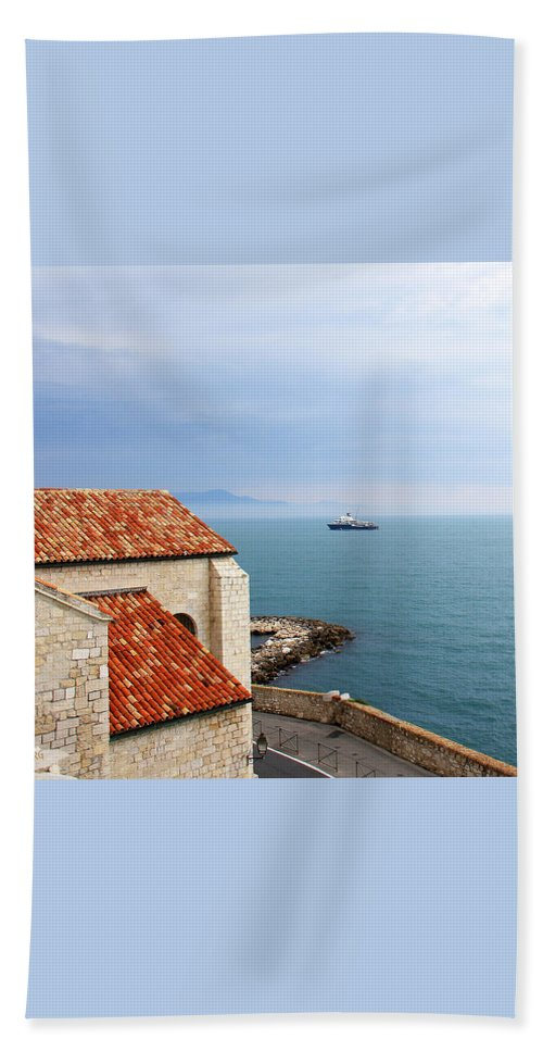 French Riviera Hand Towel featuring the photograph View Of Mediterranean In Antibes France by Ben and Raisa Gertsberg