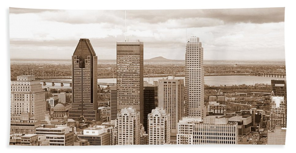 Downtown Bath Sheet featuring the photograph View Of Montreal In Sepia by Valentino Visentini