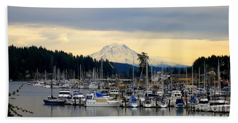 Mountain Hand Towel featuring the photograph View Of Mt. Rainier From Gig Harbor Wa by Tanya Searcy