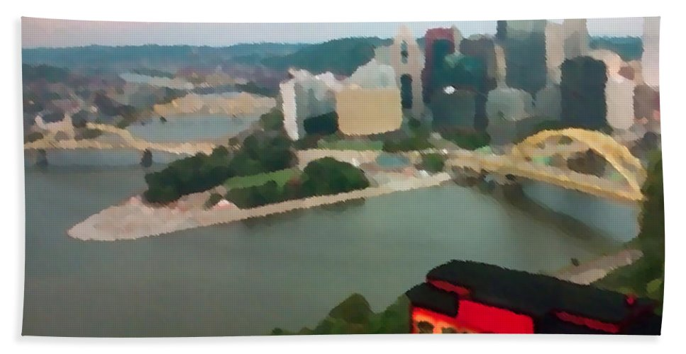 Mt. Washington Hand Towel featuring the painting View Of Pittsburgh From Mt. Washington by George Pedro