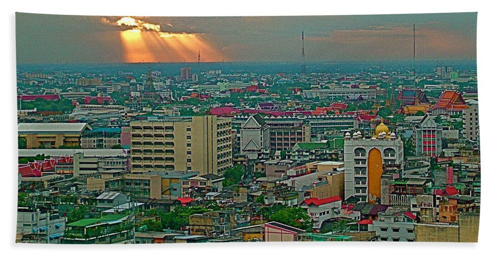 View Of Sun Setting Over Bangkok Buildings From Grand China Princess Hotel In Bangkok Hand Towel featuring the photograph View Of Sun Setting Over Bangkok Buildings From Grand China Princess Hotel In Bangkok-thailand by Ruth Hager