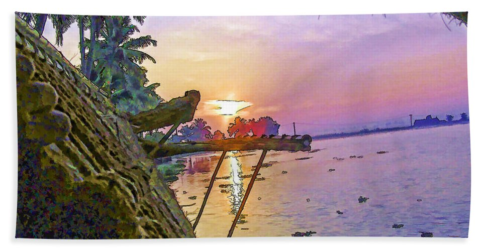 Alleppey Bath Sheet featuring the digital art View Of Sunrise From A Houseboat by Ashish Agarwal