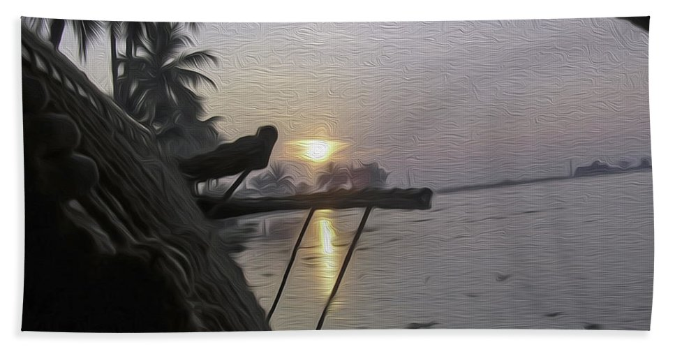 Alleppey Bath Sheet featuring the digital art View Of Sunrise From The Window Of A Houseboat by Ashish Agarwal
