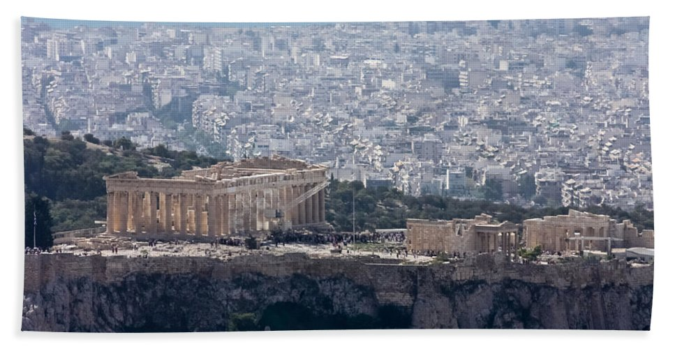 Athens Bath Sheet featuring the photograph View Of The Acropolis From Lykavittos Hill by Anthony Doudt