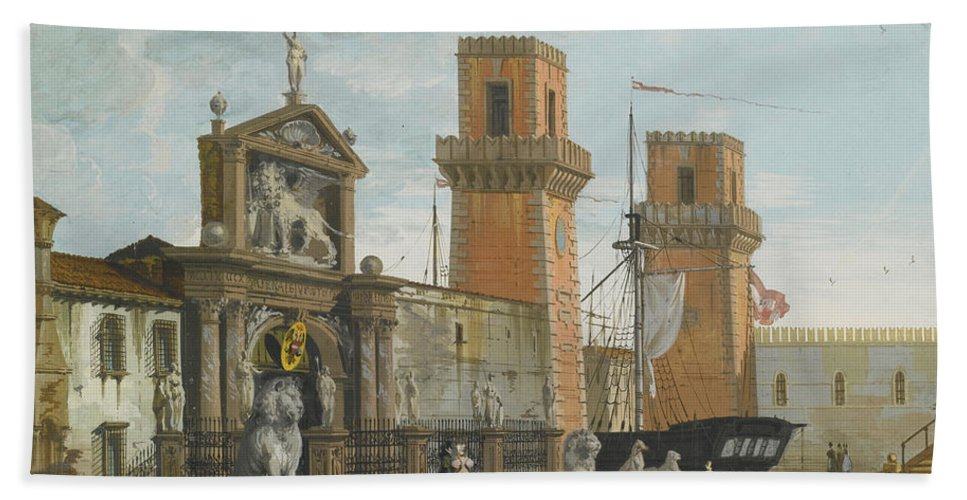 Giuseppe Bernardino Bison Bath Sheet featuring the painting View Of The Arsenale. Venice by Giuseppe Bernardino Bison