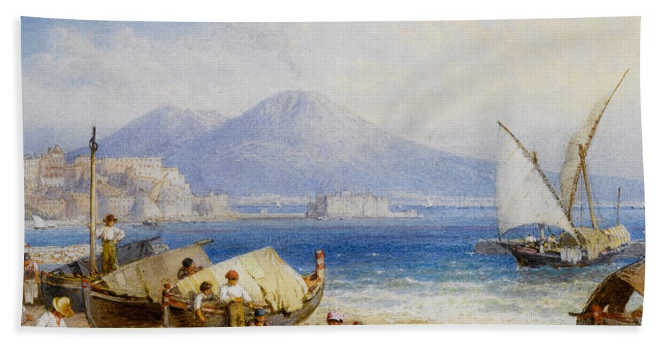 Forest Myles Birket Hand Towel featuring the digital art View Of The Bay Of Naples by Forest Myles Birket