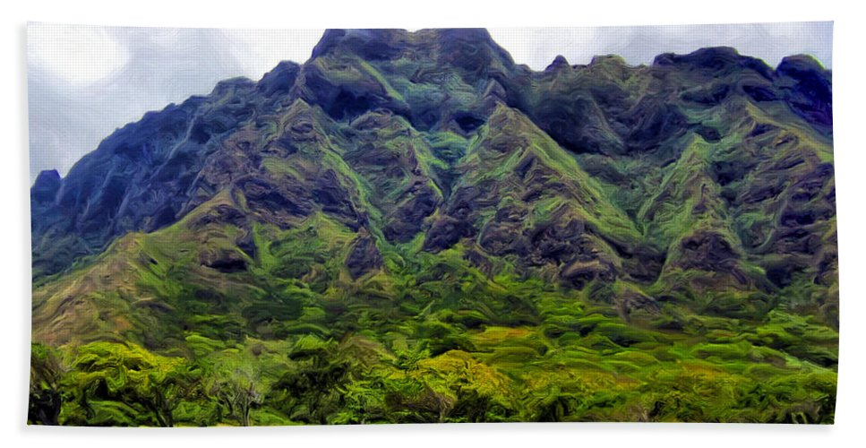 Mountains Bath Sheet featuring the painting View Of The Koolau Range by Dominic Piperata
