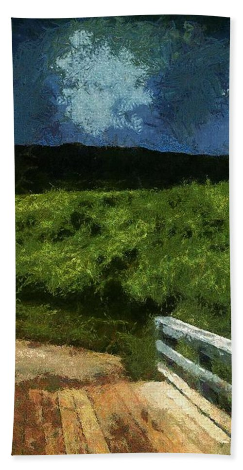 Bridge Hand Towel featuring the painting View Of The Night Sky From The Old Bridge by RC DeWinter