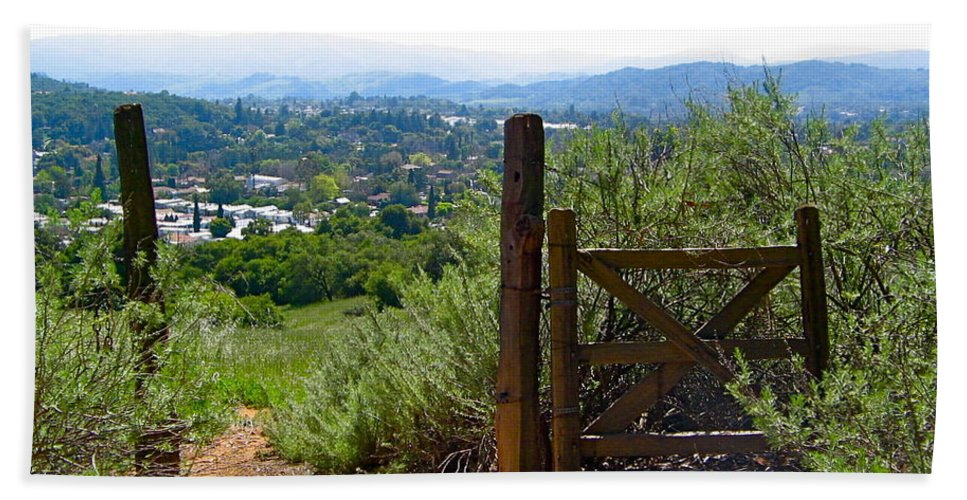 Gate Bath Sheet featuring the photograph View Of The Ojai Valley by Denise Mazzocco