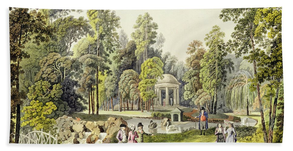 View Of The Temple Of Diana At Erlaw Hand Towel featuring the painting View Of The Temple Of Diana At Erlaw by Laurenz Janscha