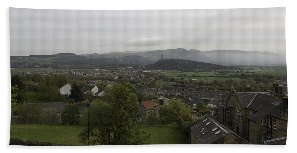 Building Hand Towel featuring the photograph View Of Wallace Monument And Houses And Surrounding Areas by Ashish Agarwal