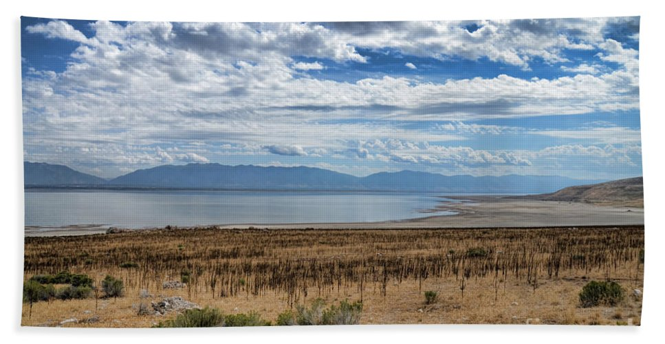 Antelope Island Hand Towel featuring the photograph View Of Wasatch Range From Antelope Island by Donna Greene