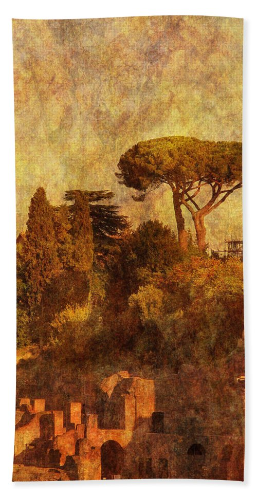 Forum Hand Towel featuring the photograph View Over The Forum In Rome by Greg Matchick