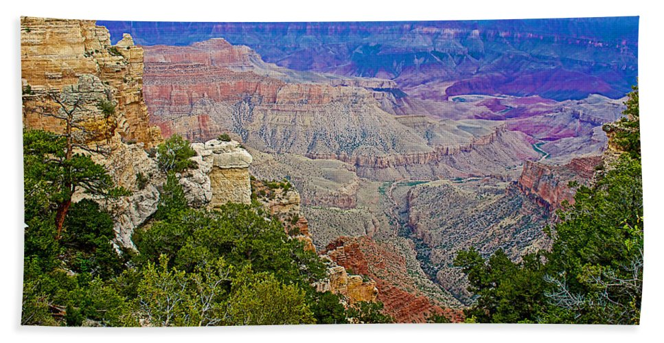 View Seven From Walhalla Overlook On On North Rim/grand Canyon National Park Bath Sheet featuring the photograph View Seven From Walhalla Overlook On North Rim Of Grand Canyon-arizona by Ruth Hager