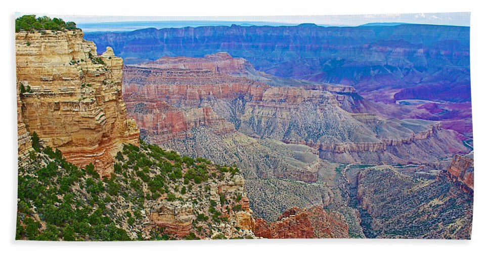 View Three From Walhalla Overlook On On North Rim/grand Canyon National Park Bath Sheet featuring the photograph View Three From Walhalla Overlook On North Rim Of Grand Canyon-arizona by Ruth Hager