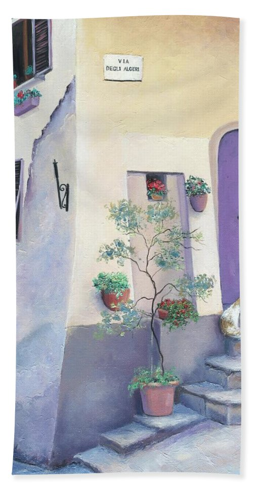 Villa Degli Algeri Tuscany Hand Towel featuring the painting Villa Degli Algeri Tuscany by Jan Matson