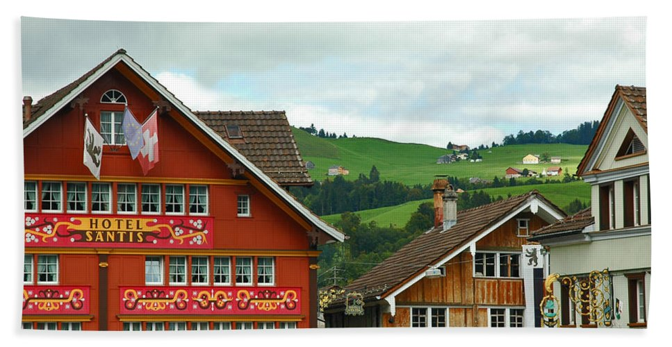 Appenzell Hand Towel featuring the photograph Hotel Santis And Hillside Of Appenzell Switzerland by Ginger Wakem