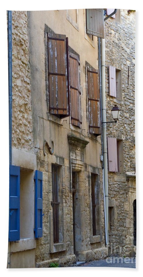 Saignon France Door Doors Window Windows Shutter Shutters Street Streets Stone Structure Structures Home Homes Apartment Apartments Building Buildings Provence Village Villages City Cities Cityscape Cityscapes Architecture Bath Sheet featuring the photograph Village Apartments by Bob Phillips