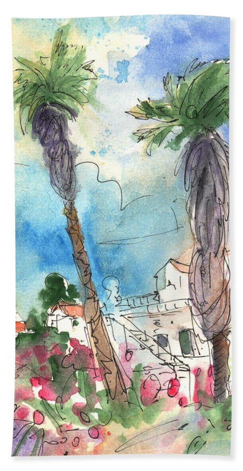 Travel Hand Towel featuring the painting Village In Lanzarote 02 by Miki De Goodaboom